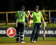 17 September 2019; Shane Getkate, right, and Mark Adair of Ireland congratulate each other following their side's victory during the T20 International Tri Series match between Ireland and Scotland at Malahide Cricket Club in Dublin. Photo by Seb Daly/Sportsfile