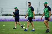 18 September 2019; Defence coach Andy Farrell, centre, with head coach Joe Schmidt and scrum coach Greg Feek during Ireland Rugby squad training at the Ichihara Suporeku Park in Ichihara, Japan. Photo by Brendan Moran/Sportsfile