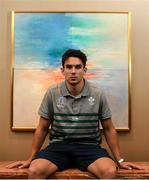 18 September 2019; Joey Carbery poses for a portrait following an Ireland Rugby press conference at the Yokohama Bay Sheraton Hotel and Towers in Yokohama, Japan. Photo by Ramsey Cardy/Sportsfile
