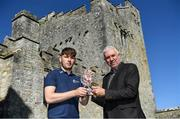 18 September 2019; Kerry's Michael Slattery receives the 2019 Bord Gáis Energy U-20 Player of the Year Award for the Richie McElligott Cup, from Chair of the Bord Gáis Energy U-20 Player of the Year Awards committee, Ger Cunningham. Slattery hit 8 points as Kerry ran out 3-22 to 0-12 winners against Down in last month's decider in Páirc Tailteann, Navan. Photo by Piaras Ó Mídheach/Sportsfile