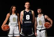 18 September 2019; Ulster University Elks, from left, Clare Cooke, Aaron Rooney and Matthew Rooney pictured at the 2019/2020 Basketball Ireland Season Launch and Hula Hoops National Cup draw at the National Basketball Arena in Tallaght, Dublin. Photo by David Fitzgerald/Sportsfile
