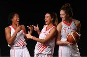 18 September 2019; Griffith College Templeogue players, from left, Vernisha Andrews, Berta Rodriguez and Morgan O'Donnell pictured at the 2019/2020 Basketball Ireland Season Launch and Hula Hoops National Cup draw at the National Basketball Arena in Tallaght, Dublin. Photo by David Fitzgerald/Sportsfile