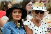 18 September 2019; Catherine Furlong from New Ross, Wexford, left, and Liz Farrell from Carlow during the Etihad Airways' 'Best Dressed Country Style' competition at the National Ploughing Championship in Ballintrane, Fenagh, Co. Carlow. This year's prize includes two return economy flights from Dublin to Abu Dhabi, a two-night stay in the luxury Yas Hotel built over the F1 Grand Prix race track, a two-night stay in the prominent 5-Star Fairmont Bab Al Bahr and two complimentary 3-park passes for Yas Island. Photo by Stephen McCarthy/Sportsfile