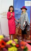 18 September 2019; Celia Holman Lee with Andrea Murphy, from Kilkenny, during the Etihad Airways' 'Best Dressed Country Style' competition at the National Ploughing Championship in Ballintrane, Fenagh, Co. Carlow. This year's prize includes two return economy flights from Dublin to Abu Dhabi, a two-night stay in the luxury Yas Hotel built over the F1 Grand Prix race track, a two-night stay in the prominent 5-Star Fairmont Bab Al Bahr and two complimentary 3-park passes for Yas Island. Photo by Stephen McCarthy/Sportsfile