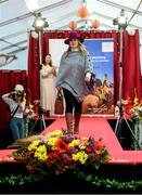 18 September 2019; Andrea Murphy, from Kilkenny, during the Etihad Airways' 'Best Dressed Country Style' competition at the National Ploughing Championship in Ballintrane, Fenagh, Co. Carlow. This year's prize includes two return economy flights from Dublin to Abu Dhabi, a two-night stay in the luxury Yas Hotel built over the F1 Grand Prix race track, a two-night stay in the prominent 5-Star Fairmont Bab Al Bahr and two complimentary 3-park passes for Yas Island. Photo by Stephen McCarthy/Sportsfile