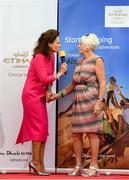18 September 2019; Celia Holman Lee with Deirdre Bishop Power during the Etihad Airways' 'Best Dressed Country Style' competition at the National Ploughing Championship in Ballintrane, Fenagh, Co. Carlow. This year's prize includes two return economy flights from Dublin to Abu Dhabi, a two-night stay in the luxury Yas Hotel built over the F1 Grand Prix race track, a two-night stay in the prominent 5-Star Fairmont Bab Al Bahr and two complimentary 3-park passes for Yas Island. Photo by Stephen McCarthy/Sportsfile