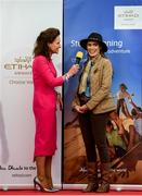 18 September 2019; Celia Holman Lee with Catherine Furlong, from New Ross, Wexofrd, during the Etihad Airways' 'Best Dressed Country Style' competition at the National Ploughing Championship in Ballintrane, Fenagh, Co. Carlow. This year's prize includes two return economy flights from Dublin to Abu Dhabi, a two-night stay in the luxury Yas Hotel built over the F1 Grand Prix race track, a two-night stay in the prominent 5-Star Fairmont Bab Al Bahr and two complimentary 3-park passes for Yas Island. Photo by Stephen McCarthy/Sportsfile