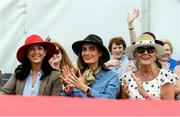 18 September 2019; Attendees, from left, Elaine Murphy, Catherine Furlong and Liz Farrell during the Etihad Airways' 'Best Dressed Country Style' competition at the National Ploughing Championship in Ballintrane, Fenagh, Co. Carlow. This year's prize includes two return economy flights from Dublin to Abu Dhabi, a two-night stay in the luxury Yas Hotel built over the F1 Grand Prix race track, a two-night stay in the prominent 5-Star Fairmont Bab Al Bahr and two complimentary 3-park passes for Yas Island. Photo by Stephen McCarthy/Sportsfile