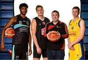 18 September 2019; Keith Jumper of Garvey's Tralee Warriors, Toby Christensen of Scotts Lakers St pauls Killarney, St Marys coach Liam Culloty and Erik Flood of Keanes Supervalu Killorglin  pictured at the 2019/2020 Basketball Ireland Season Launch and Hula Hoops National Cup draw at the National Basketball Arena in Tallaght, Dublin. Photo by Sam Barnes/Sportsfile