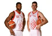 18 September 2019; Darren Townes and Xabi Arriaga of Griffith College Templeogue pictured at the 2019/2020 Basketball Ireland Season Launch and Hula Hoops National Cup draw at the National Basketball Arena in Tallaght, Dublin. Photo by Sam Barnes/Sportsfile
