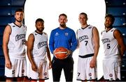 18 September 2019; DBS Eanna coach Darren McGovern, centre, with players, from left, Marko Tomic, Paris Balliger, Stefan Zecevic and Josh Wilson, pictured at the 2019/2020 Basketball Ireland Season Launch and Hula Hoops National Cup draw at the National Basketball Arena in Tallaght, Dublin. Photo by Sam Barnes/Sportsfile