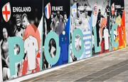 19 September 2019; The teams in Pool C, including England, France, Argentina, USA and Tonga, are seen on an advertistment outside The International Stadium Yokohama ahead of the Rugby World Cup. The stadium will host 7 Rugby World Cup games, including the Final on 2nd November. Photo by Ramsey Cardy/Sportsfile