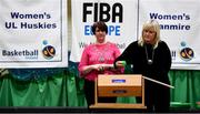 18 September 2019; Breda Dick, right, Chair of the WNLC,  and Theresa Walsh, President of Basketball Ireland, during the cup draw at the 2019/2020 Basketball Ireland Season Launch and Hula Hoops National Cup draw at the National Basketball Arena in Tallaght, Dublin. Photo by Sam Barnes/Sportsfile