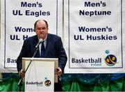 18 September 2019; Bernard O'Byrne, CEO, Basketball Ireland, speaking at the 2019/2020 Basketball Ireland Season Launch and Hula Hoops National Cup draw at the National Basketball Arena in Tallaght, Dublin. Photo by Sam Barnes/Sportsfile