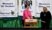 18 September 2019; Theresa Walsh, Basketball Ireland President, draws a team during the 2019/2020 Basketball Ireland Season Launch and Hula Hoops National Cup draw at the National Basketball Arena in Tallaght, Dublin. Photo by Sam Barnes/Sportsfile