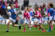 15 September 2019; Action from the U10's game between Cooley Kickhams, Co Louth, and Buncrana, Co Donegal, at half-time during the Mini Games at TG4 All-Ireland Ladies Football Championship Final Day at Croke Park in Dublin. Photo by Piaras Ó Mídheach/Sportsfile