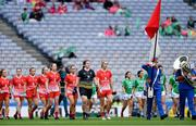 15 September 2019; Louth captain Kate Flood leads her team-mates in the parade behind the Artane Band before the TG4 All-Ireland Ladies Football Junior Championship Final match between Fermanagh and Louth at Croke Park in Dublin. Photo by Piaras Ó Mídheach/Sportsfile