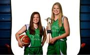 18 September 2019; Darby Maggard, left, and Kylee Smith of Liffey Celtics pictured at the 2019/2020 Basketball Ireland Season Launch and Hula Hoops National Cup draw at the National Basketball Arena in Tallaght, Dublin. Photo by Sam Barnes/Sportsfile