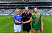 15 September 2019; Referee Jonathan Murphy with team captains Samantha Lambert of Tipperary and Máire O'Shaughnessy of Meath before the TG4 All-Ireland Ladies Football Intermediate Championship Final match between Meath andTipperary at Croke Park in Dublin. Photo by Piaras Ó Mídheach/Sportsfile