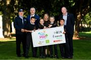 19 September 2019; The Daily Mile aims to get primary school children engaged in daily physical activity to improve their mental and physical health. The Daily Mile Irish Ambassador Frank Greally, left, with Colin Donnelly, Spar Sales Director, Amy Rowe, Irish Life Health Marketing Manager and CEO of Athletics Ireland Hamish Adams, right, with pupils Stefan Mirt, Lorna Nolan, Mia Davey and Tomas Quilmore from Scoil Mhuire Gan Smál during The Daily Mile Launch at Scoil Mhuire Gan Smál, Inchicore, Dublin. Photo by Eóin Noonan/Sportsfile