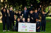 19 September 2019; The Daily Mile aims to get primary school children engaged in daily physical activity to improve their mental and physical health. The Daily Mile Irish Ambassador Frank Greally with pupils from Scoil Mhuire Gan Smál during The Daily Mile Launch at Scoil Mhuire Gan Smál, Inchicore, Dublin. Photo by Eóin Noonan/Sportsfile