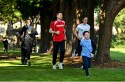 19 September 2019; The Daily Mile aims to get primary school children engaged in daily physical activity to improve their mental and physical health. The Daily Mile ambassadors Mark English and Rhasidat Adeleke during The Daily Mile Launch at Scoil Mhuire Gan Smál, Inchicore, Dublin. Photo by Eóin Noonan/Sportsfile