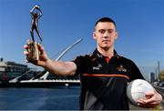 19 September 2019; PwC GAA/GPA Player of the Month for August, footballer Con O'Callaghan of Dublin, pictured, and September Player of the Month, footballer Sean O'Shea of Kerry, were at PwC offices in Dublin today to pick up their respective awards. The players were joined by PwC Managing Partner, Feargal O'Rourke, Uachtarán Chumann Lúthcleas, John Horan, and GPA Chief Executive, Paul Flynn.   Photo by Sam Barnes/Sportsfile
