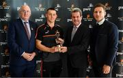 19 September 2019; PwC GAA/GPA Player of the Month for August, footballer Con O'Callaghan of Dublin, and September Player of the Month, footballer Sean O'Shea of Kerry, were at PwC offices in Dublin today to pick up their respective awards. The players were joined by PwC Managing Partner, Feargal O'Rourke, Uachtarán Chumann Lúthcleas, John Horan, and GPA Chief Executive, Paul Flynn. Pictured are, from left, Uachtarán Chumann Lúthchleas Gael John Horan, Con O'Callaghan of Dublin, PwC Managing Partner, Feargal O'Rourke, and GPA Chief Executive, Paul Flynn in attendance at the event.  Photo by Sam Barnes/Sportsfile