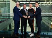 19 September 2019; PwC GAA/GPA Player of the Month for August, footballer Con O'Callaghan of Dublin, and September Player of the Month, footballer Sean O'Shea of Kerry, were at PwC offices in Dublin today to pick up their respective awards. The players were joined by PwC Managing Partner, Feargal O'Rourke, Uachtarán Chumann Lúthchleas Gael John Horan, and GPA Chief Executive, Paul Flynn. Pictured are, from left, Uachtarán Chumann Lúthcleas, John Horan, PwC Managing Partner, Feargal O'Rourke, Con O'Callaghan of Dublin and GPA Chief Executive, Paul Flynn in attendance at the event.  Photo by Sam Barnes/Sportsfile