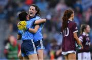 15 September 2019; Dublin players Lyndsey Davey, right, and Siobhán McGrath celebrate after the TG4 All-Ireland Ladies Football Senior Championship Final match between Dublin and Galway at Croke Park in Dublin. Photo by Piaras Ó Mídheach/Sportsfile