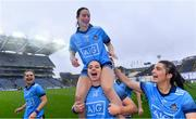 15 September 2019; Dublin players, from left, Martha Byrne, Sinéad Aherne, 13, Noëlle Healy, and Niamh Collins celebrate after the TG4 All-Ireland Ladies Football Senior Championship Final match between Dublin and Galway at Croke Park in Dublin. Photo by Piaras Ó Mídheach/Sportsfile