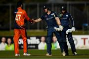 19 September 2019; Richie Berrington of Scotland and Paul van Meekeren of Netherlands shake hands following the T20 International Tri Series match between Scotland and Netherlands at Malahide Cricket Club in Dublin. Photo by Harry Murphy/Sportsfile