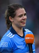 15 September 2019; Noëlle Healy of Dublin is interviewed after the TG4 All-Ireland Ladies Football Senior Championship Final match between Dublin and Galway at Croke Park in Dublin. Photo by Piaras Ó Mídheach/Sportsfile