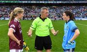 15 September 2019; Referee Brendan Rice with team captains Tracey Leonard of Galway and Sinéad Aherne of Dublin before the TG4 All-Ireland Ladies Football Senior Championship Final match between Dublin and Galway at Croke Park in Dublin. Photo by Piaras Ó Mídheach/Sportsfile