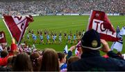 15 September 2019; Dublin and Galway teams march behind the Artane Band before the TG4 All-Ireland Ladies Football Senior Championship Final match between Dublin and Galway at Croke Park in Dublin. Photo by Piaras Ó Mídheach/Sportsfile