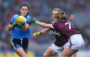 15 September 2019; Lyndsey Davey of Dublin in action against Barbara Hannon, centre, and Shauna Molloy of Galway during the TG4 All-Ireland Ladies Football Senior Championship Final match between Dublin and Galway at Croke Park in Dublin. Photo by Piaras Ó Mídheach/Sportsfile