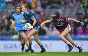15 September 2019; Dublin goalkeeper Ciara Trant in action against Áine McDonagh of Galway during the TG4 All-Ireland Ladies Football Senior Championship Final match between Dublin and Galway at Croke Park in Dublin. Photo by Piaras Ó Mídheach/Sportsfile