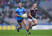 15 September 2019; Éabha Rutledge of Dublin in action against Megan Glynn of Galway during the TG4 All-Ireland Ladies Football Senior Championship Final match between Dublin and Galway at Croke Park in Dublin. Photo by Piaras Ó Mídheach/Sportsfile