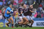 15 September 2019; Sinéad Goldrick of Dublin gets past Galway defenders on her way to scoring her side's first goal during the TG4 All-Ireland Ladies Football Senior Championship Final match between Dublin and Galway at Croke Park in Dublin. Photo by Piaras Ó Mídheach/Sportsfile