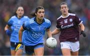 15 September 2019; Niamh Collins of Dublin in action against Róisín Leonard of Galway during the TG4 All-Ireland Ladies Football Senior Championship Final match between Dublin and Galway at Croke Park in Dublin. Photo by Piaras Ó Mídheach/Sportsfile
