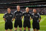 2 September 2018; Referee Conor Lane with his linesman Paddy Neilan, sideline official Sean Laverty, linesman and standby referee David Gough prior to the GAA Football All-Ireland Senior Championship Final match between Dublin and Tyrone at Croke Park in Dublin. Photo by Ray McManus/Sportsfile
