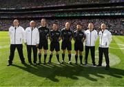 2 September 2018; Referee Conor Lane with his sideline official Sean Laverty, linesman Paddy Neilan, Linesman and standby referee David Gough and his umpires John Joe Lane, DJ O'Sullivan, Ray Hegarty and Pat Kelly prior to the GAA Football All-Ireland Senior Championship Final match between Dublin and Tyrone at Croke Park in Dublin. Photo by Ray McManus/Sportsfile