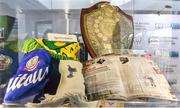 19 September 2019; A detailed view of exhibits belonging to Charlie O'Hagan's footballing career on show during the National Football Exhibition launch at the Regional Cultural Centre in Letterkenny, Donegal. Photo by Oliver McVeigh/Sportsfile