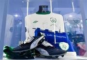 19 September 2019; A detailed view of exhibits belonging to Richard Dunne's footballing career on show during the National Football Exhibition launch at the Regional Cultural Centre in Letterkenny, Donegal. Photo by Oliver McVeigh/Sportsfile