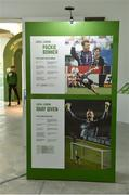 19 September 2019; A detailed view of an exhibit featuring Donegal born goalkeepers Shay Given and Packie Bonner during the National Football Exhibition launch at the Regional Cultural Centre in Letterkenny, Donegal. Photo by Oliver McVeigh/Sportsfile