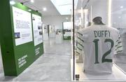 19 September 2019; A detailed view of an exhibit featuring a jersey worn by Donegal born Republic of Ireland internatioanl Shane Duffy during the National Football Exhibition launch at the Regional Cultural Centre in Letterkenny, Donegal. Photo by Oliver McVeigh/Sportsfile