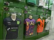 19 September 2019; A detailed view of an exhibit featuring Republic of Ireland jerseys during the National Football Exhibition launch at the Regional Cultural Centre in Letterkenny, Donegal. Photo by Oliver McVeigh/Sportsfile