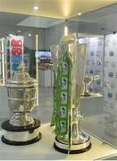 19 September 2019; An exhibit featuring the SSE Airtricity League Premier Divison trophy and the FAI Cup during the National Football Exhibition launch at the Regional Cultural Centre in Letterkenny, Donegal. Photo by Oliver McVeigh/Sportsfile