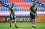 20 September 2019; Head coach Rassie Erasmus, right, and defence consultant Felix Jones during the South Africa captain's run ahead of their opening Pool B game against New Zealand at the International Stadium in Yokohama, Japan.  Photo by Ramsey Cardy/Sportsfile