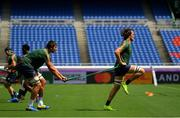20 September 2019; Eben Etzebeth, left, and Franco Mostert during the South Africa captain's run ahead of their opening Pool B game against New Zealand at the International Stadium in Yokohama, Japan.  Photo by Ramsey Cardy/Sportsfile